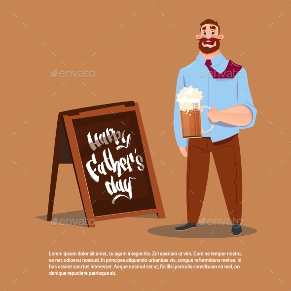 Happy Father Day Family Holiday, Dad Hold Beer - Miscellaneous Vectors