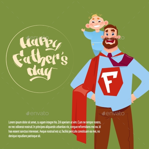 Happy Father Day Family Holiday, Man Dad Hold Son - Miscellaneous Vectors