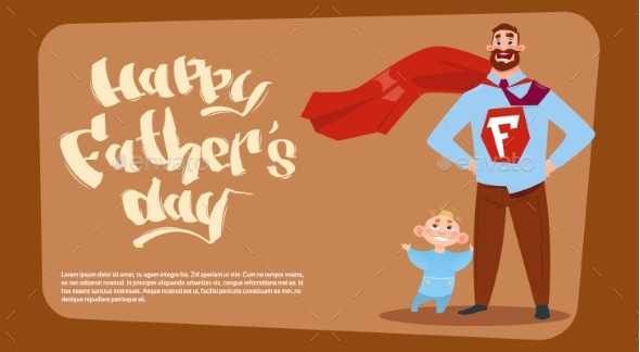 Happy Father Day Family Holiday, Man Dad With Son - Miscellaneous Vectors