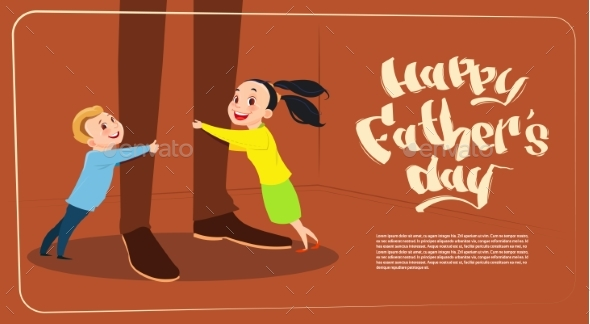 Happy Father Day Family Holiday, Daughter And Son - Miscellaneous Vectors