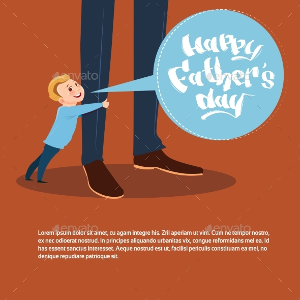 Happy Father Day Family Holiday, Son Embracing Dad - Miscellaneous Vectors