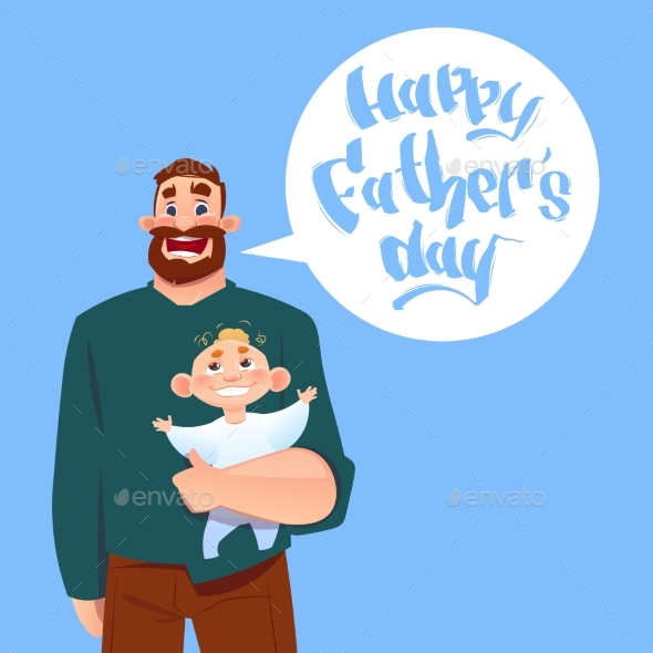 Happy Father Day Family Holiday, Dad Hold Infant - Miscellaneous Vectors