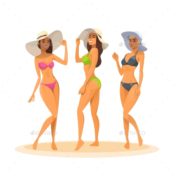 Three Woman In Bikini, Full Length Long Leg - People Characters