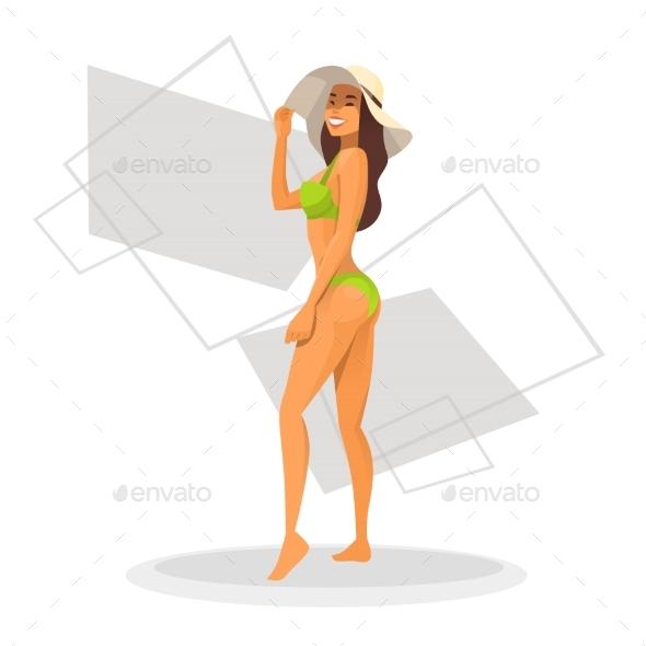 Tanned Woman In Bikini - People Characters