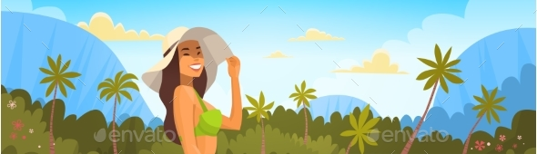 Tanned Woman In Bikini Over Tropical Forest - People Characters