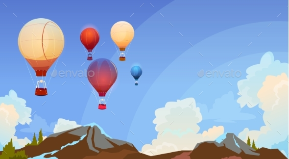 Colorful Air Balloons Flying In Sky Over Summer - Man-made Objects Objects