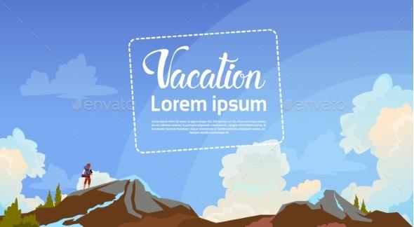 Summer Vacation Concept Man Backpacker Enjoy View - Miscellaneous Vectors