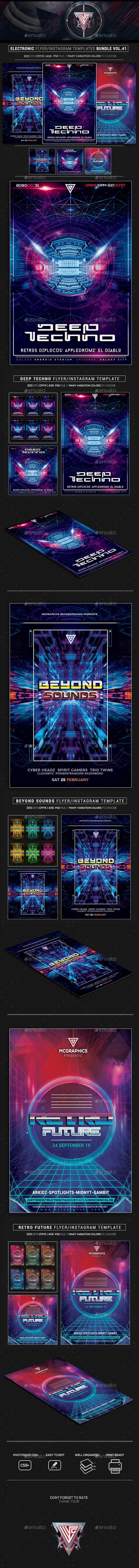 Electro Music Flyer/Instagram Bundle Vol. 41 - Flyers Print Templates