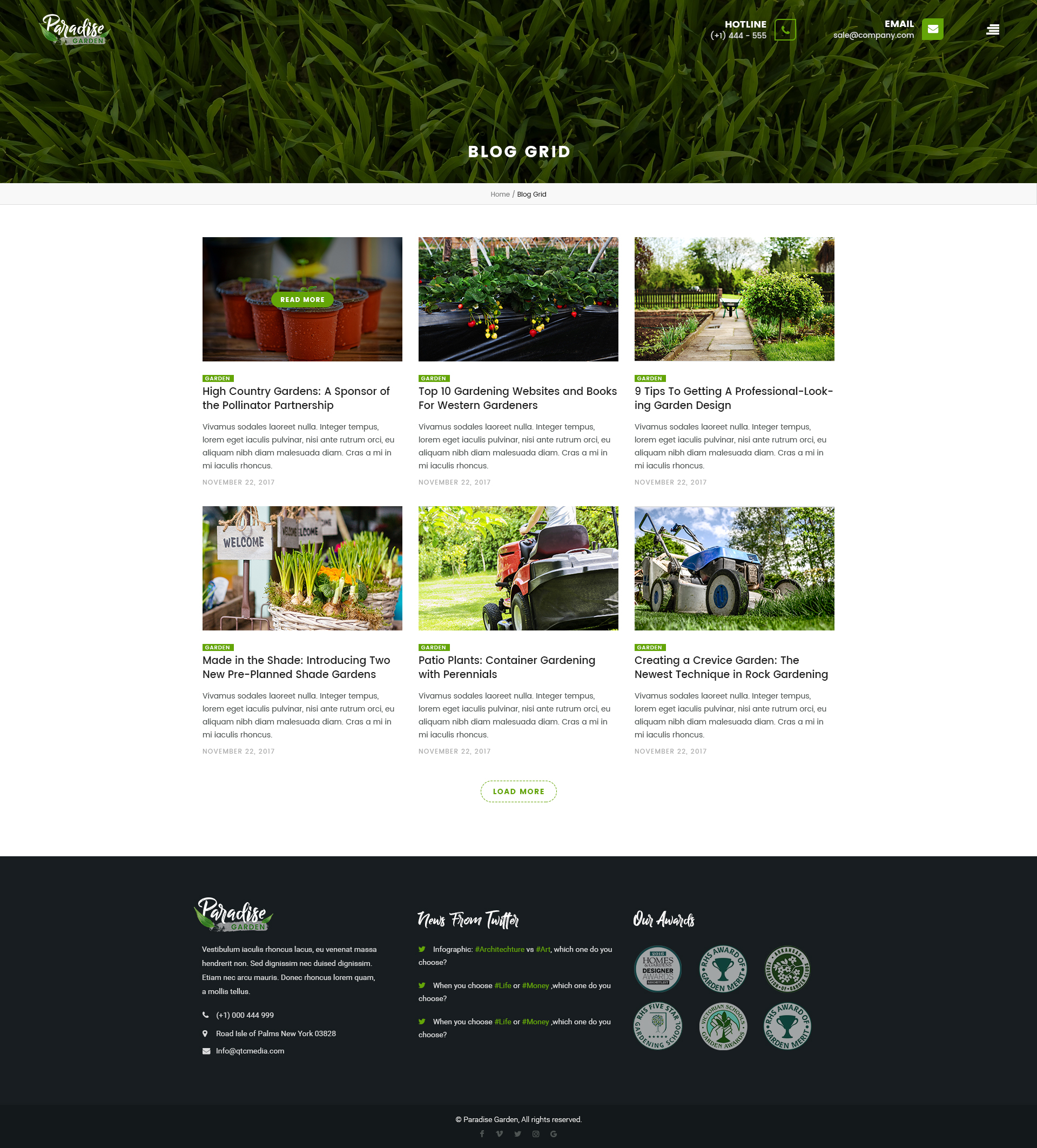 Paradise Garden Gardening and Landscaping PSD Template by qtcmedia
