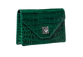 Handbag from alligator leather, hide in green colour