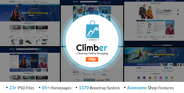 Climber – Travel Accessories PSD Template