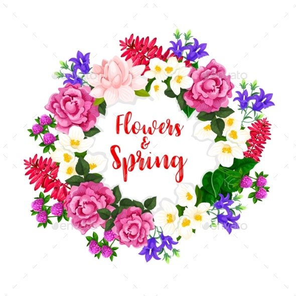 Spring Flowers Wreath of Vector Blooming Bouquets - Flowers & Plants Nature