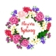 Spring Flowers Wreath of Vector Blooming Bouquets - GraphicRiver Item for Sale