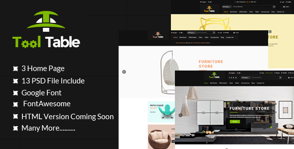 Tool Table Commerce PSD Template - Shopping Retail