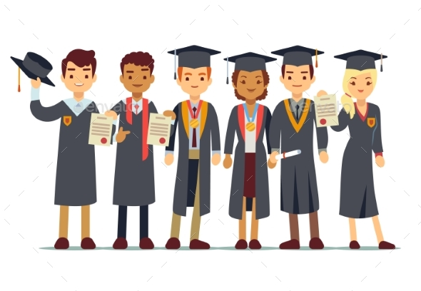 Graduation Concept with Students - People Characters