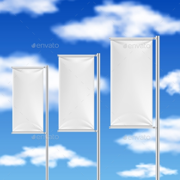 White Flags and Blue Sky Beach Event Advertising - Man-made Objects Objects