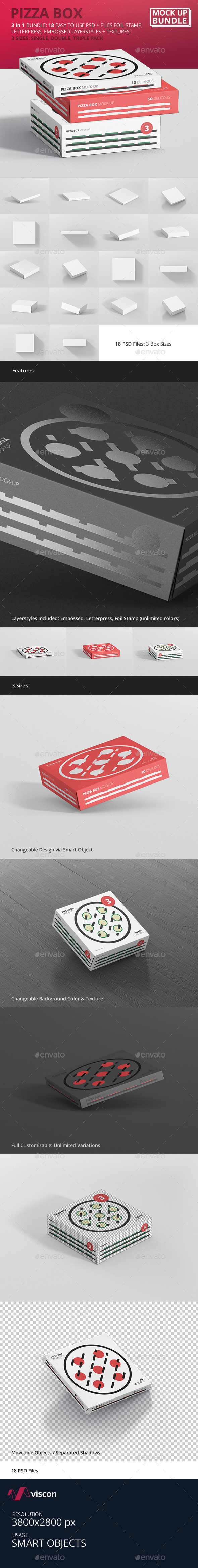 Pizza Box Mockup Bundle - Food and Drink Packaging