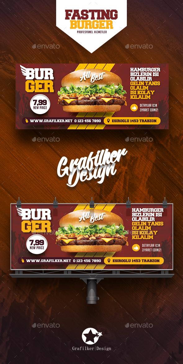 Fast Food Burger Billboard Templates - Signage Print Templates