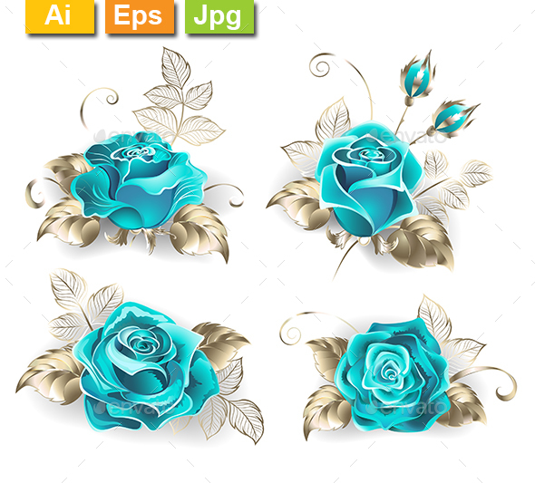 Set of Turquoise Roses - Flowers & Plants Nature