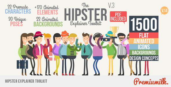 Character Design Animation Toolkit After Effects Project : Hipster explainer toolkit flat animated icons library by