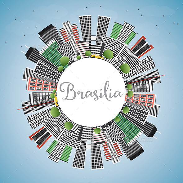 Brasilia Skyline with Gray Buildings, Blue Sky and Copy Space. - Buildings Objects