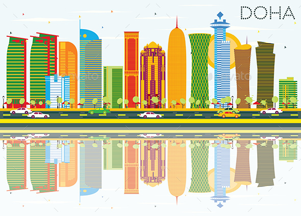Doha Skyline with Color Buildings, Blue Sky and Reflections. - Buildings Objects