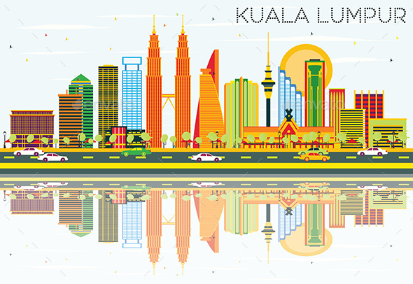 Kuala Lumpur Skyline with Color Buildings, Blue Sky and Reflections. - Buildings Objects