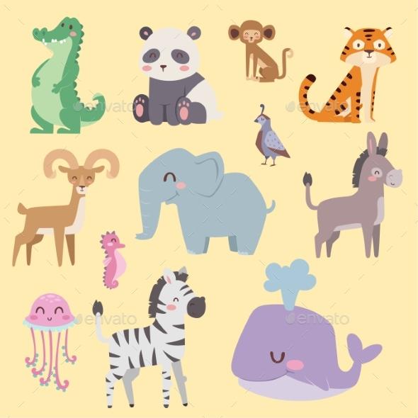 Zoo Cartoon Animals Isolated Funny Wildlife - Animals Characters