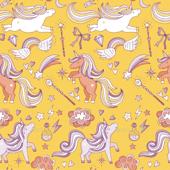 Seamless Pattern with Funny Magic Elements - Backgrounds Decorative