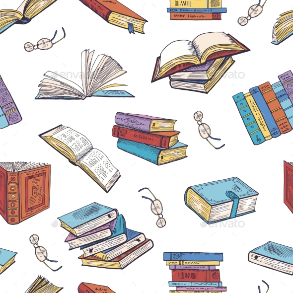 Different Books From Library. Doodle Vector - Backgrounds Decorative