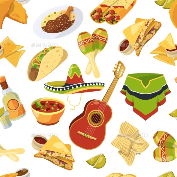 Mexican Food Vector Seamless Pattern on White - Backgrounds Decorative