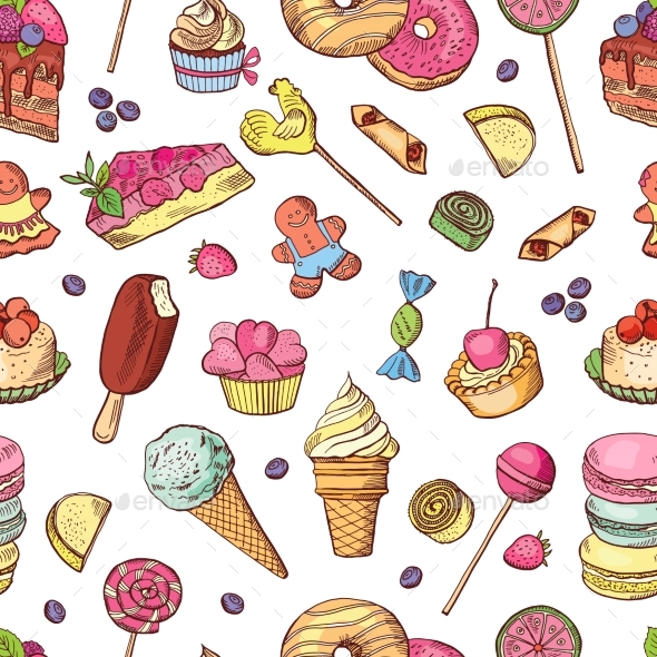 Vector Seamless Pattern of Candies, Ice Cream - Backgrounds Decorative