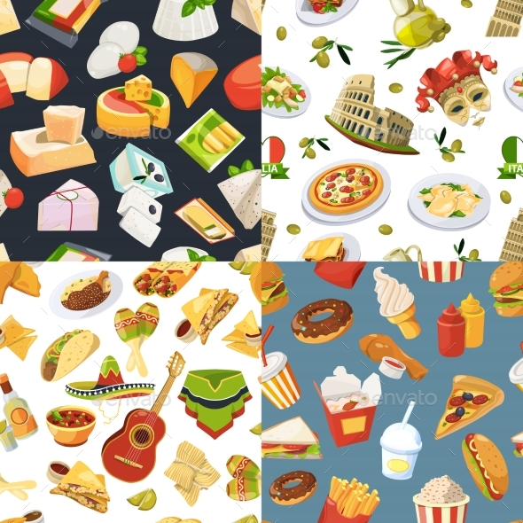 Big Seamless Pattern Set with Different Worldwide - Backgrounds Decorative
