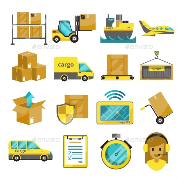 Cargo Vector Icon Set Isolated. Airplane, Harbor - Objects Vectors