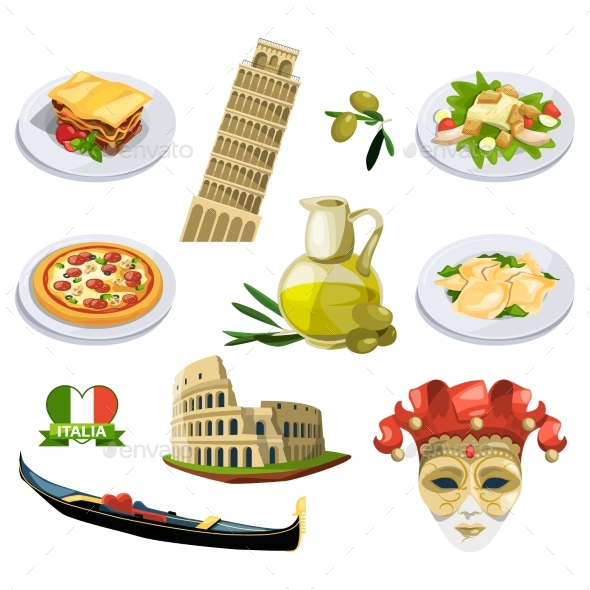 Different Traditional Elements and Symbols - Objects Vectors