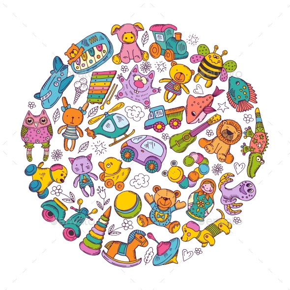 Childrens Toys Icon Set in Circle Shape. - Objects Vectors
