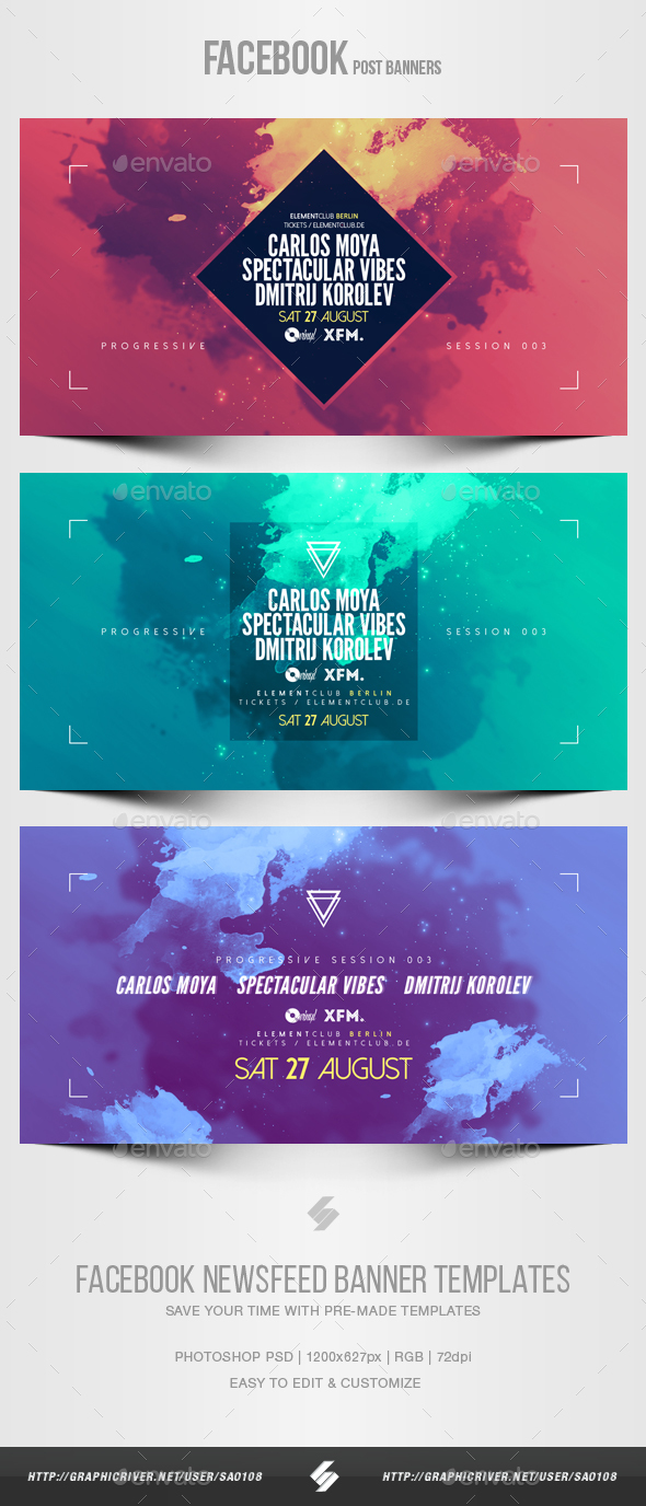 Electronic Music Party vol.21 - Facebook Post Banner Templates - Social Media Web Elements