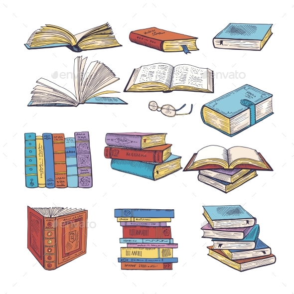 Set of Different Books. Encyclopedia, Dictionary - Objects Vectors