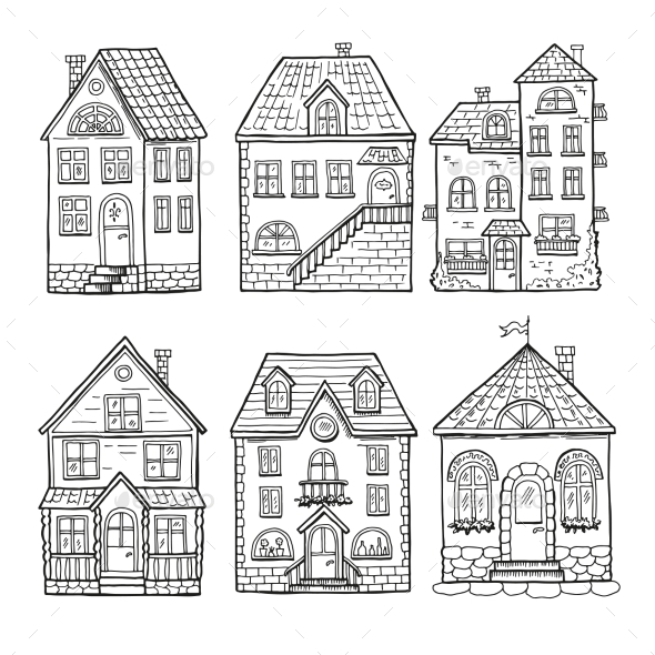 Little Houses and Different Roofs. - Buildings Objects