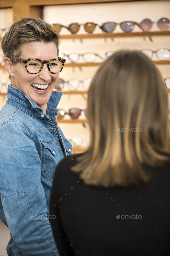 friendly service at the optometry - Stock Photo - Images