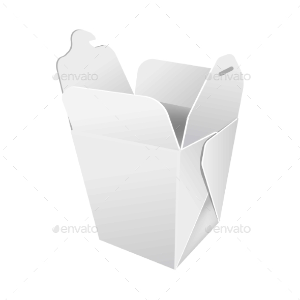 Opened Paper Box for Food - Food Objects
