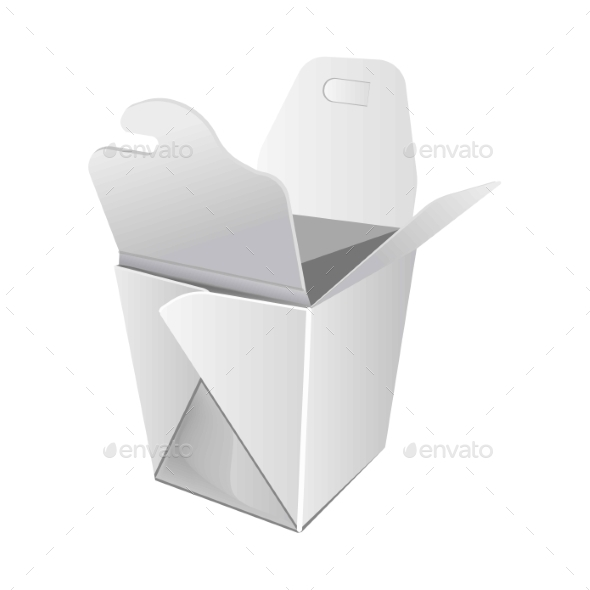 White Open Cardboard Box for Chinese Food - Food Objects