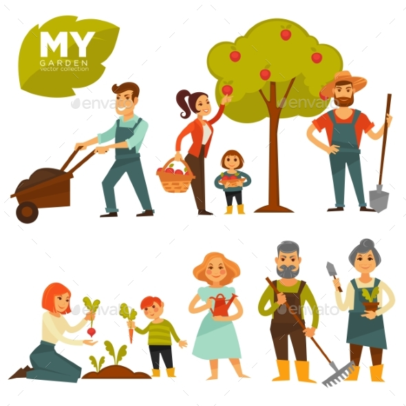 People Working in Garden Colorful Vector Poster - Flowers & Plants Nature