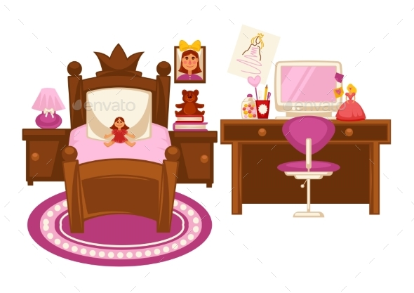 Bedroom of Little Girl - Objects Vectors