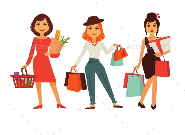 Shopping Template Poster with Three Women Holding - Man-made Objects Objects