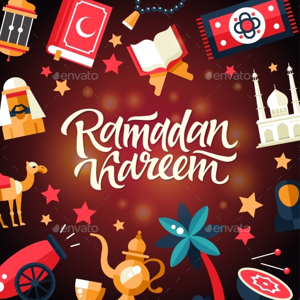 Ramadan Kareem - Postcard Template with Islamic - Seasons/Holidays Conceptual