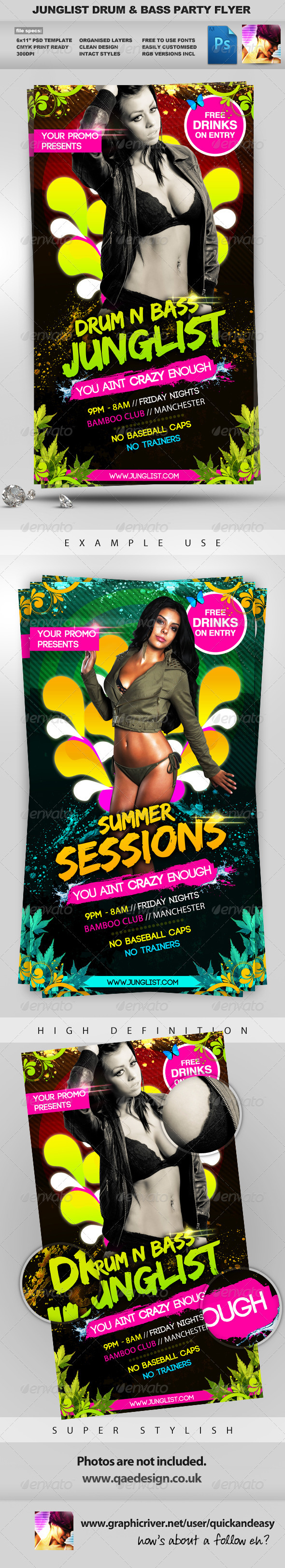 Junglist Summer Sessions 2x PSD Flyer Templates - Clubs & Parties Events