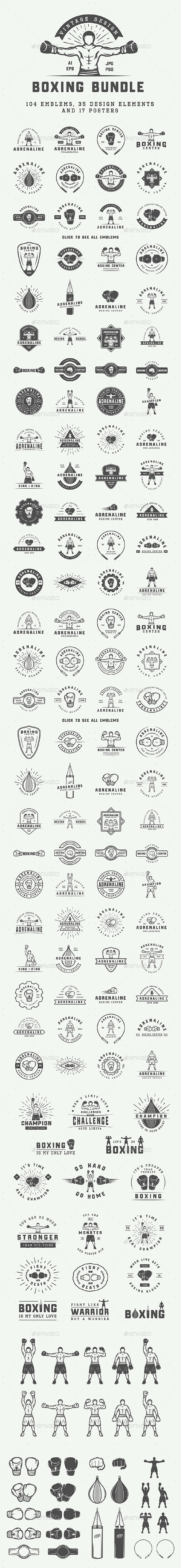 Vintage Boxing Bundle - Badges & Stickers Web Elements