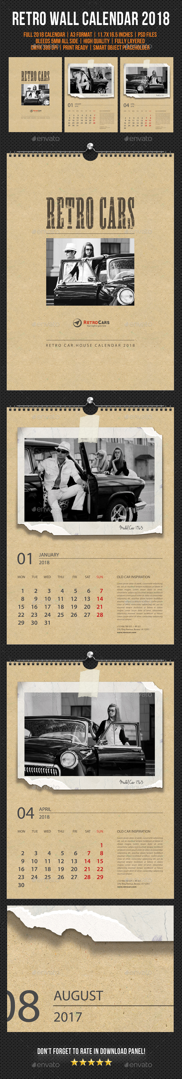 Wall Calendar 2018 Retro Photo - Calendars Stationery