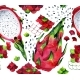 Seamless Watercolor Pattern with Dragon Fruits and - GraphicRiver Item for Sale